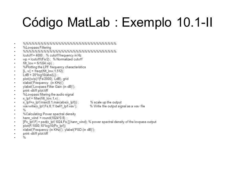 Código MatLab : Exemplo 10.1-II