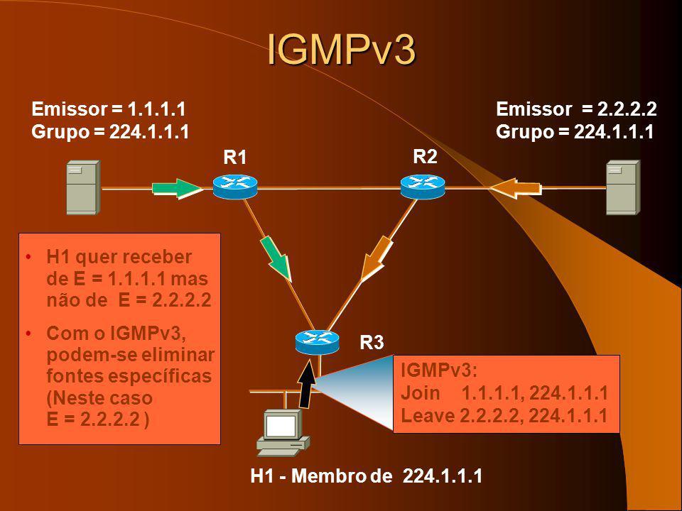 IGMPv3 Emissor = 1.1.1.1 Grupo = 224.1.1.1 Emissor = 2.2.2.2