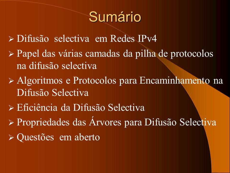 Sumário Difusão selectiva em Redes IPv4
