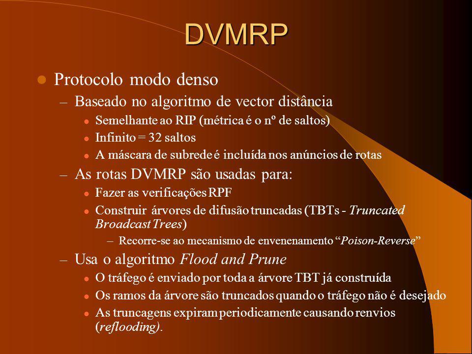 DVMRP Protocolo modo denso Baseado no algoritmo de vector distância