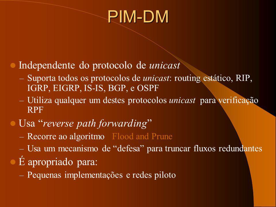 PIM-DM Independente do protocolo de unicast