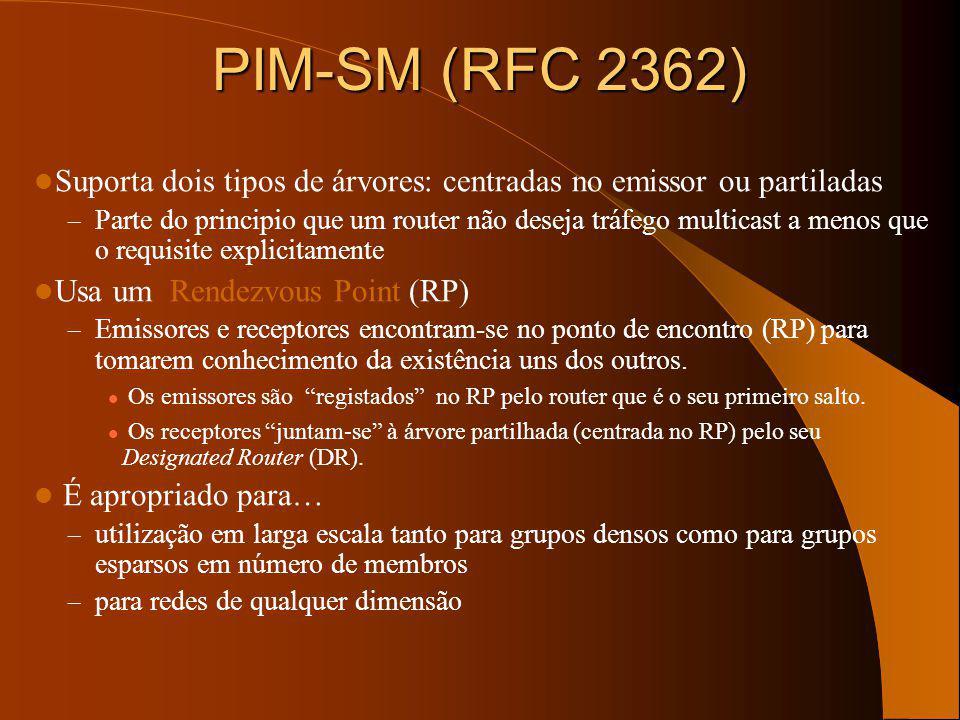 PIM-SM (RFC 2362) Suporta dois tipos de árvores: centradas no emissor ou partiladas.
