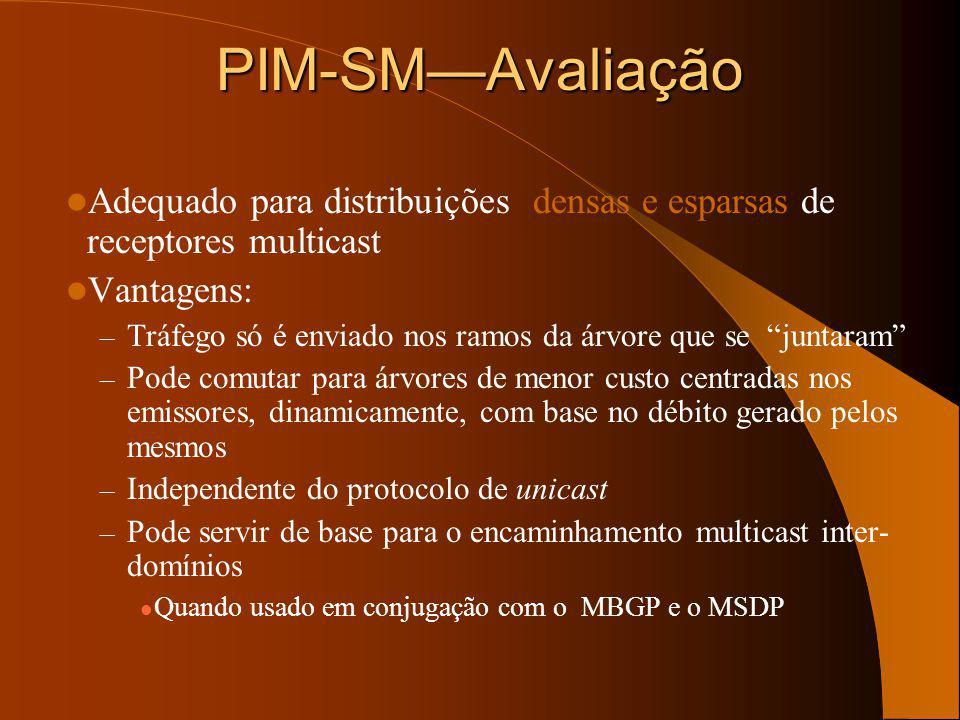 PIM-SM—Avaliação Adequado para distribuições densas e esparsas de receptores multicast. Vantagens: