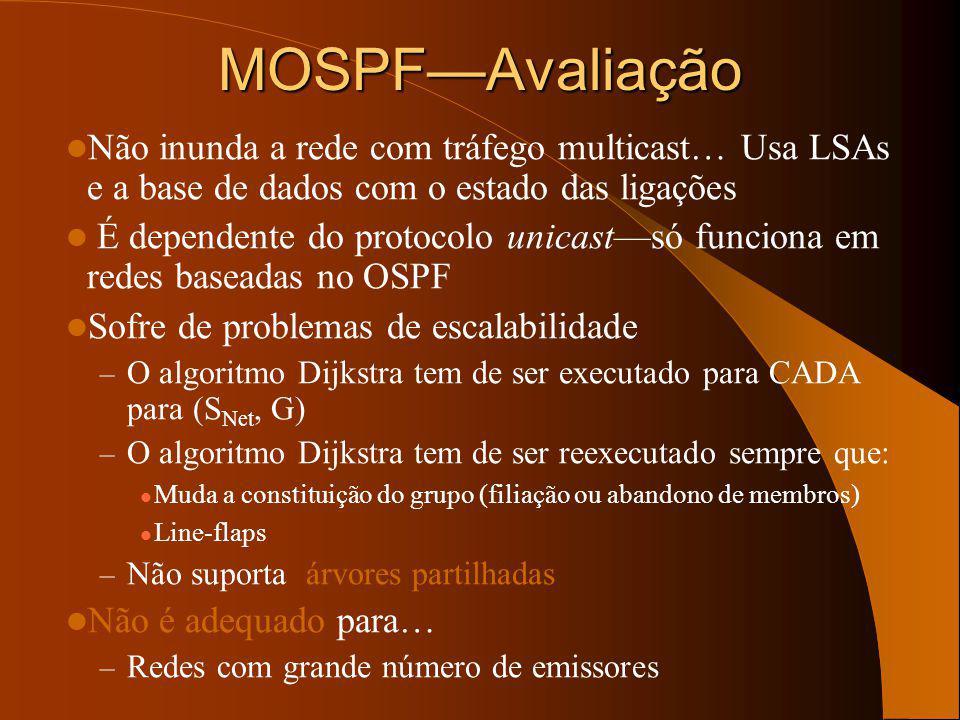 MOSPF—Avaliação Não inunda a rede com tráfego multicast… Usa LSAs e a base de dados com o estado das ligações.