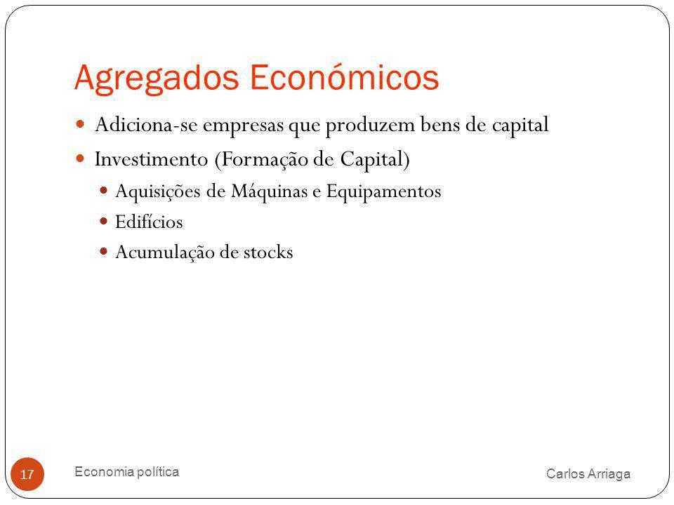 Agregados Económicos Adiciona-se empresas que produzem bens de capital