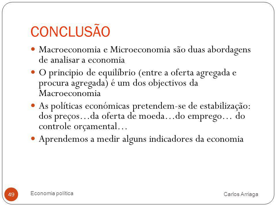 CONCLUSÃO Macroeconomia e Microeconomia são duas abordagens de analisar a economia.