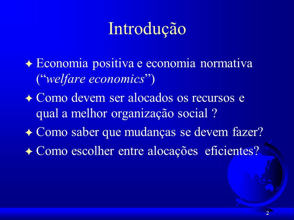 Introdução Economia positiva e economia normativa ( welfare economics ) Como devem ser alocados os recursos e qual a melhor organização social
