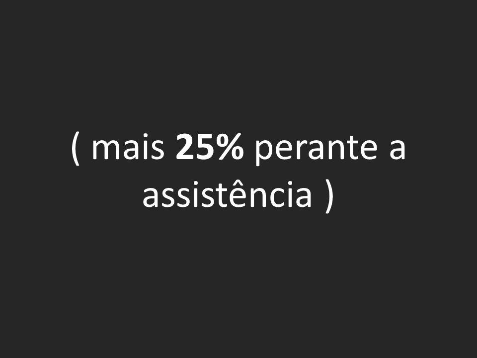 ( mais 25% perante a assistência )
