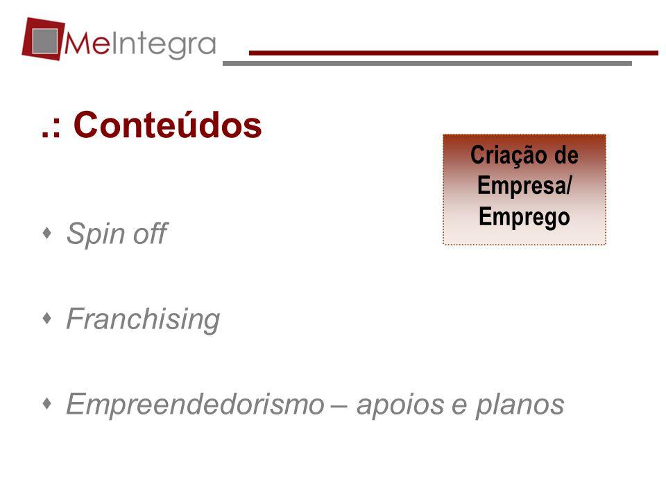 .: Conteúdos Spin off Franchising Empreendedorismo – apoios e planos