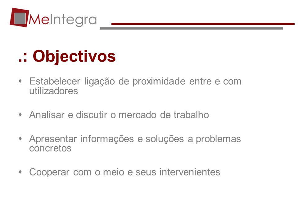 .: Objectivos Estabelecer ligação de proximidade entre e com utilizadores. Analisar e discutir o mercado de trabalho.