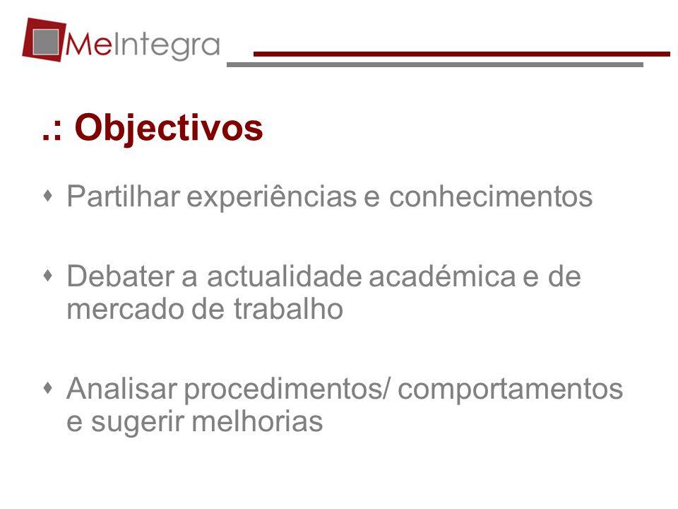 .: Objectivos Partilhar experiências e conhecimentos