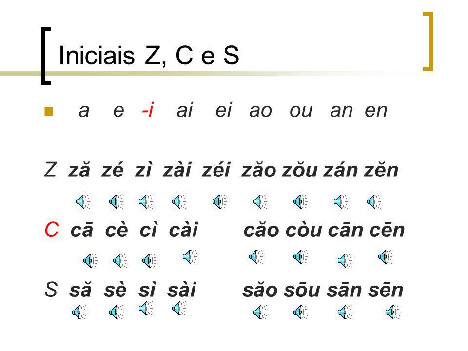 Iniciais Z, C e S a e -i ai ei ao ou an en