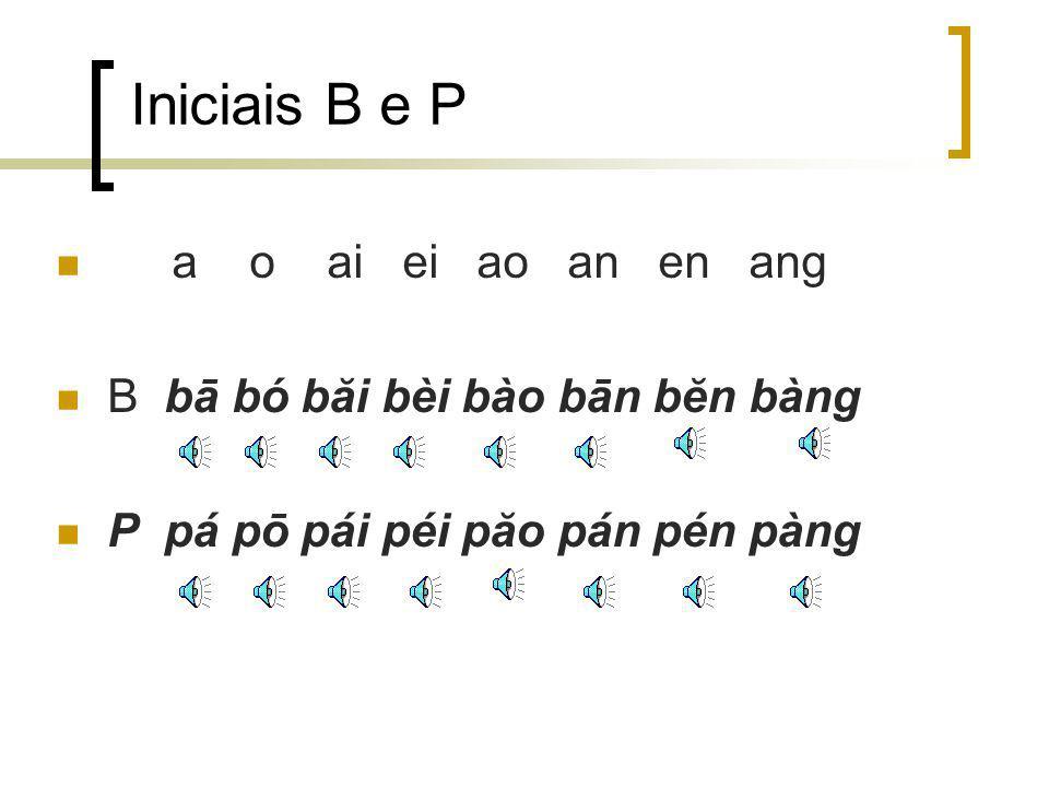 Iniciais B e P a o ai ei ao an en ang B bā bó băi bèi bào bān bĕn bàng