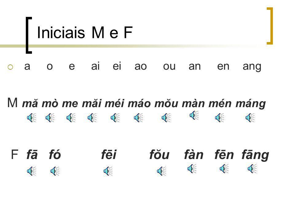 Iniciais M e F M mă mò me măi méi máo mŏu màn mén máng