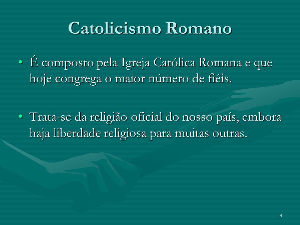 Catolicismo Romano É composto pela Igreja Católica Romana e que hoje congrega o maior número de fiéis.