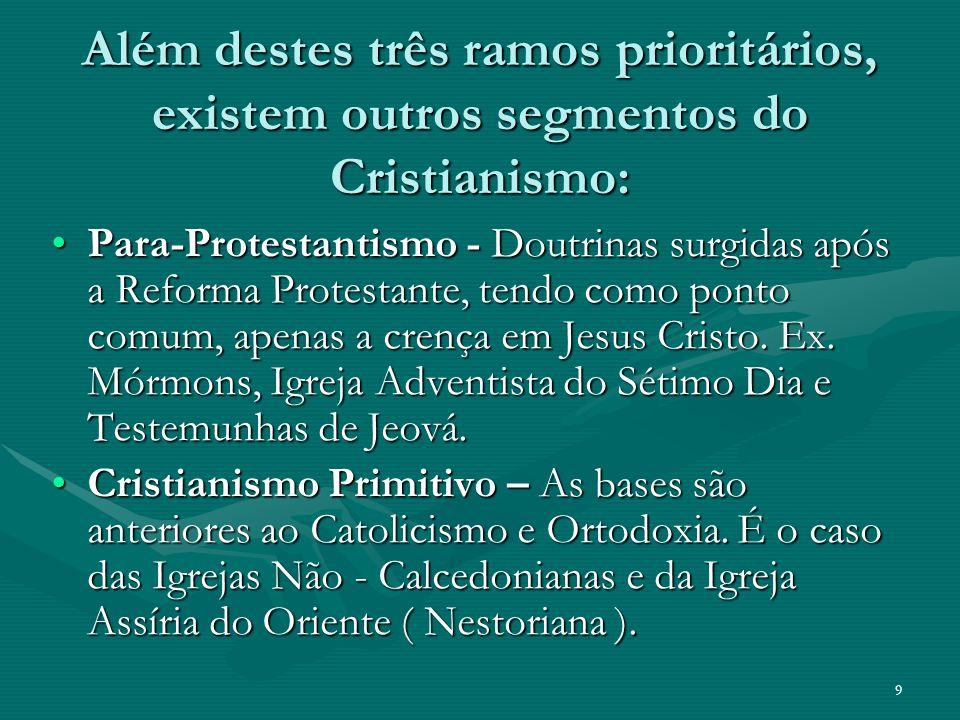 Além destes três ramos prioritários, existem outros segmentos do Cristianismo: