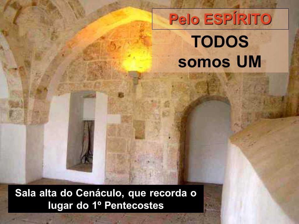 Sala alta do Cenáculo, que recorda o lugar do 1º Pentecostes