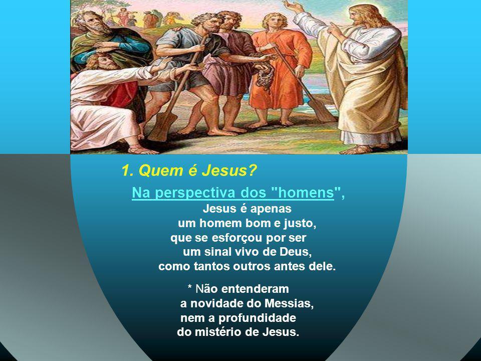 Na perspectiva dos homens , Jesus é apenas um homem bom e justo,