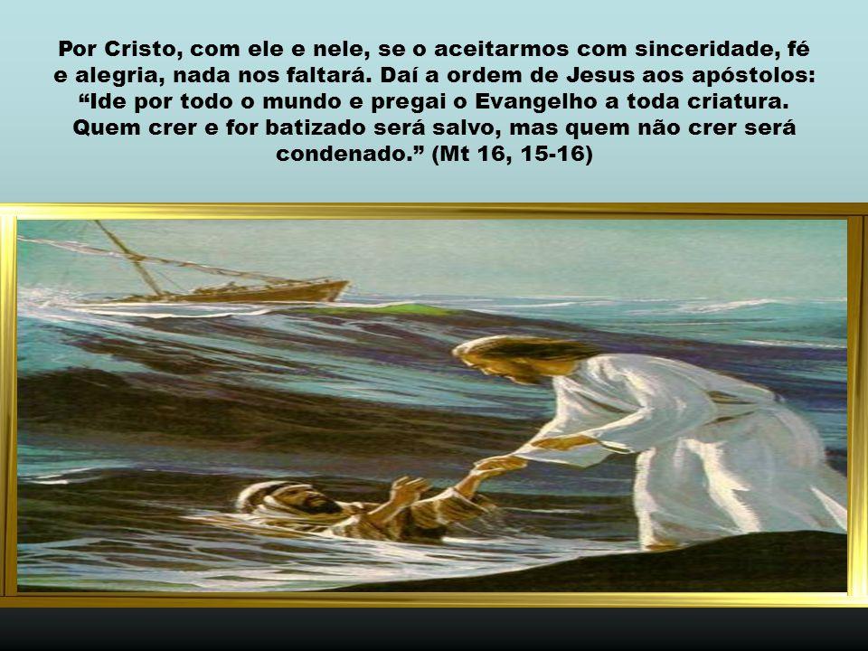 Por Cristo, com ele e nele, se o aceitarmos com sinceridade, fé e alegria, nada nos faltará.