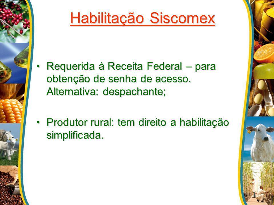 Habilitação Siscomex Requerida à Receita Federal – para obtenção de senha de acesso. Alternativa: despachante;