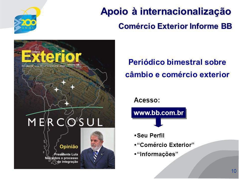 Periódico bimestral sobre câmbio e comércio exterior