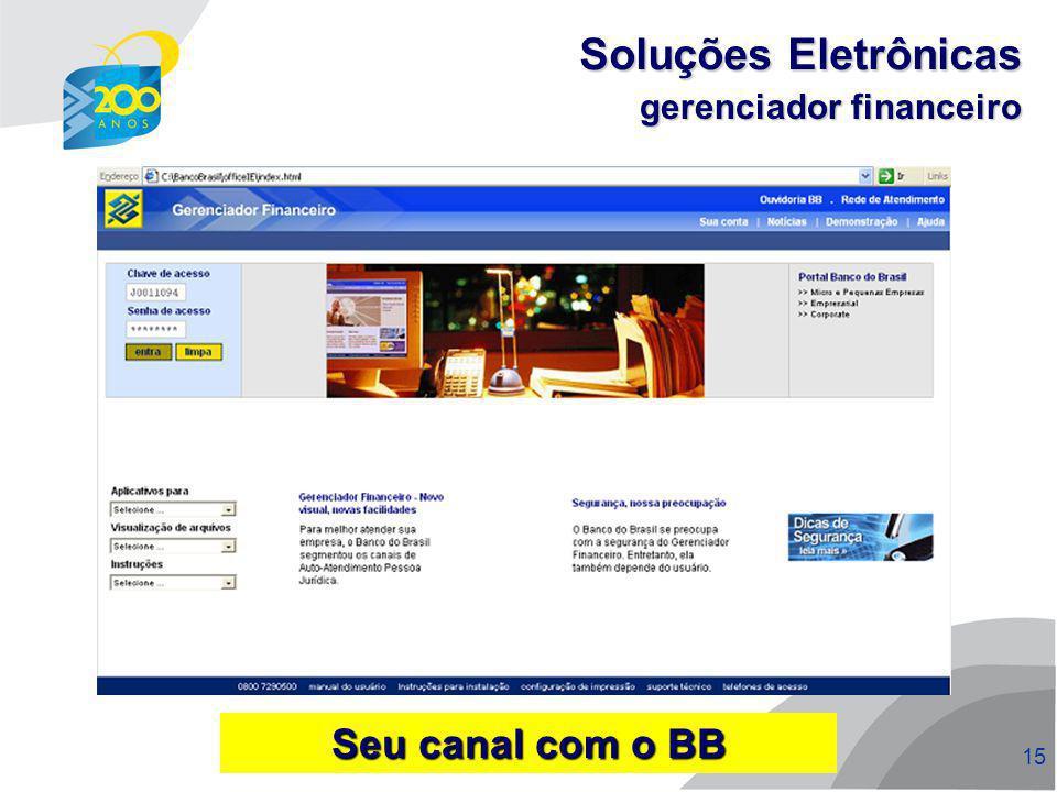 Soluções Eletrônicas gerenciador financeiro Seu canal com o BB