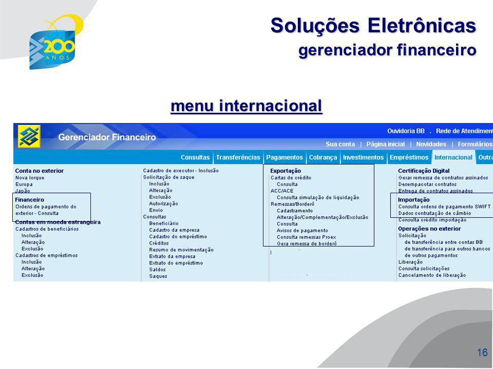 Soluções Eletrônicas gerenciador financeiro menu internacional