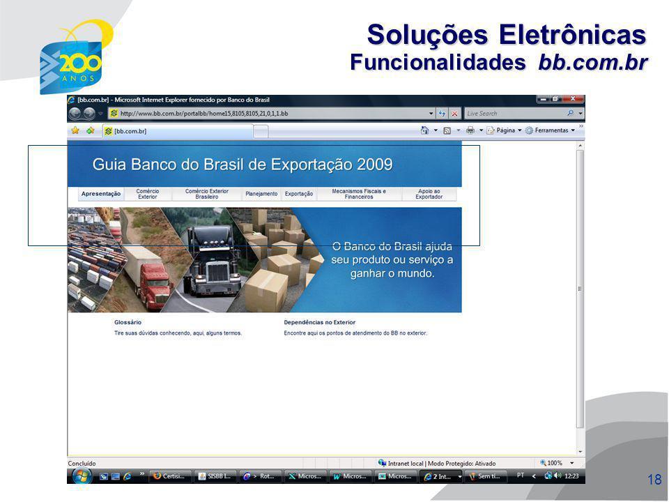 Soluções Eletrônicas Funcionalidades bb.com.br