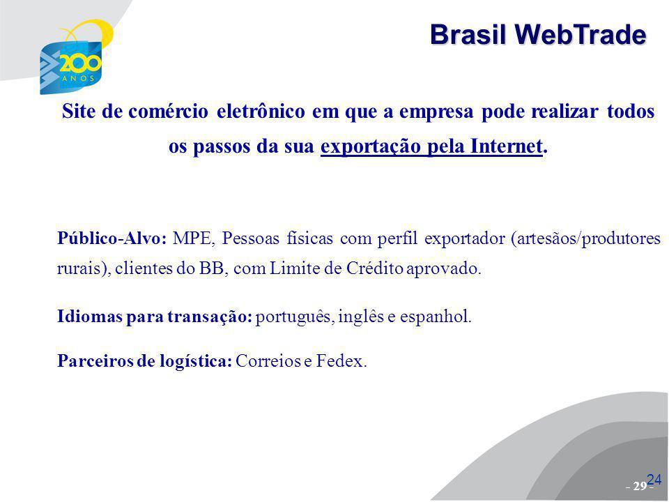 Brasil WebTrade Site de comércio eletrônico em que a empresa pode realizar todos os passos da sua exportação pela Internet.