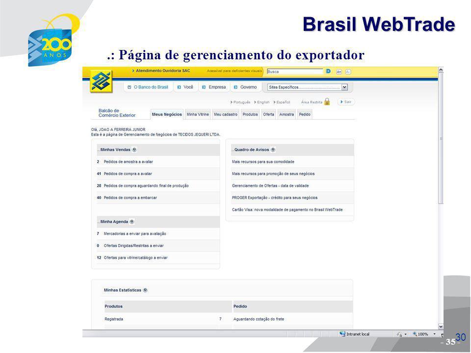 .: Página de gerenciamento do exportador