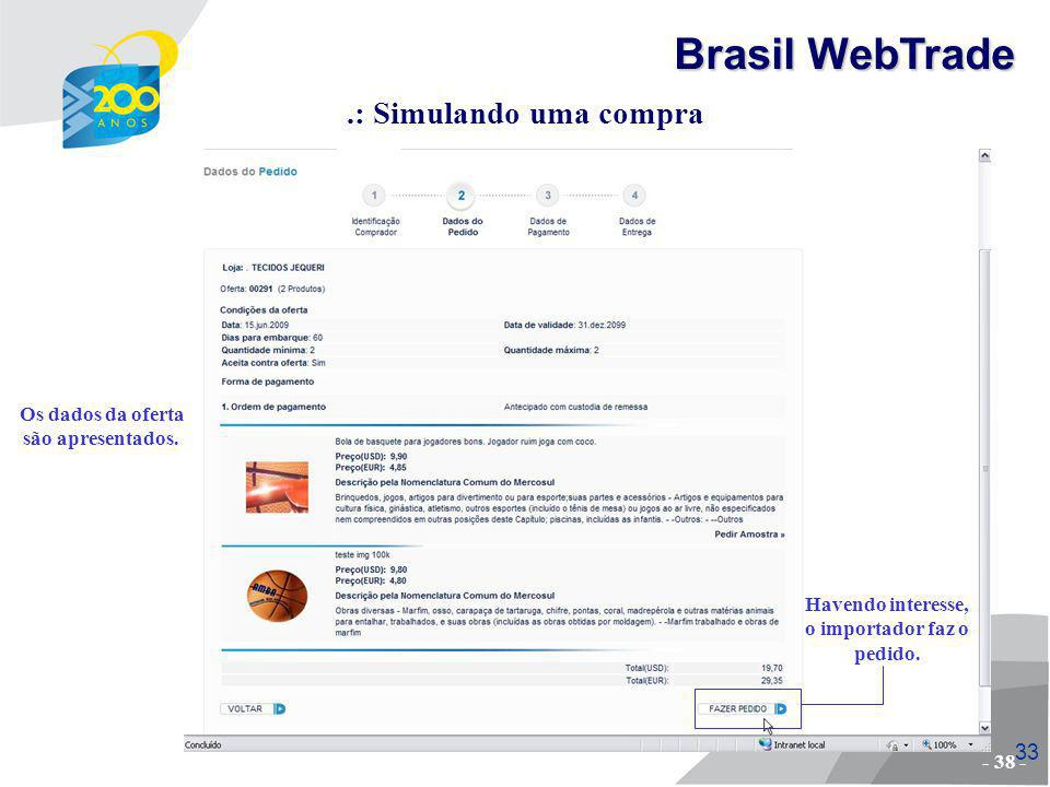 Brasil WebTrade .: Simulando uma compra Os dados da oferta