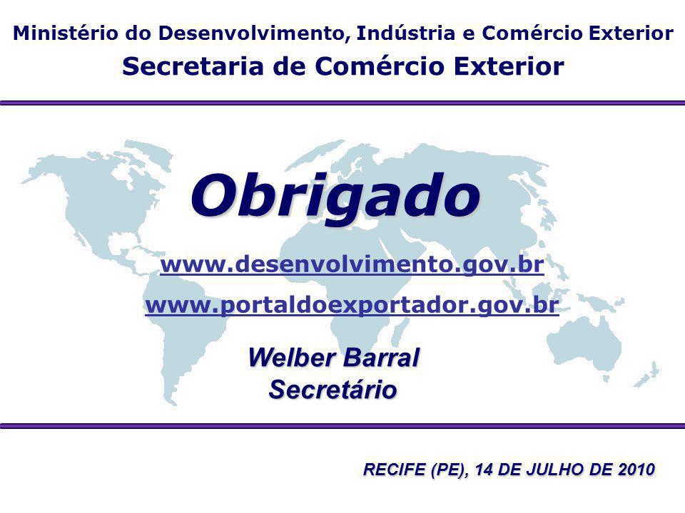 Obrigado Welber Barral Secretário Secretaria de Comércio Exterior