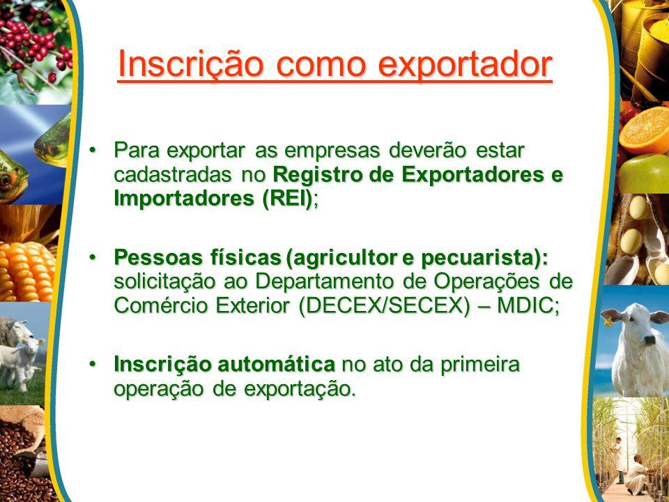 Inscrição como exportador