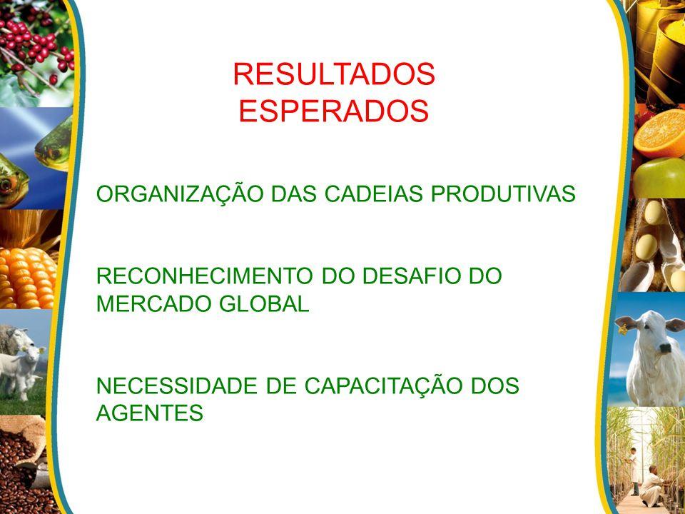 RESULTADOS ESPERADOS ORGANIZAÇÃO DAS CADEIAS PRODUTIVAS