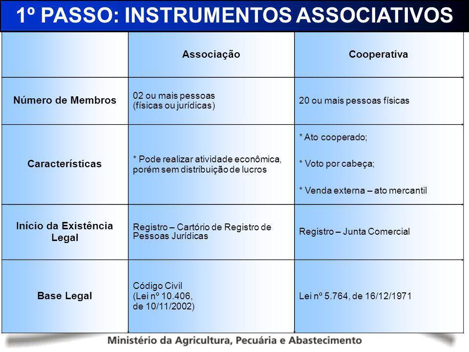 1º PASSO: INSTRUMENTOS ASSOCIATIVOS Início da Existência Legal