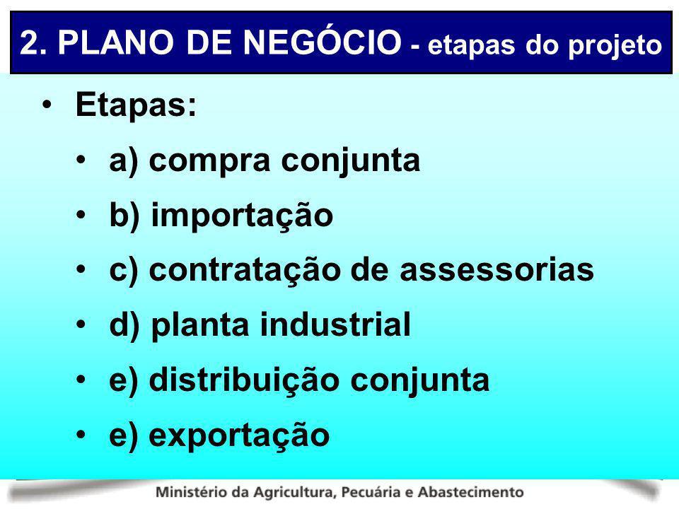 2. PLANO DE NEGÓCIO - etapas do projeto