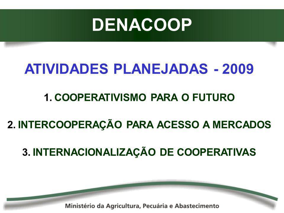 DENACOOP ATIVIDADES PLANEJADAS - 2009 COOPERATIVISMO PARA O FUTURO