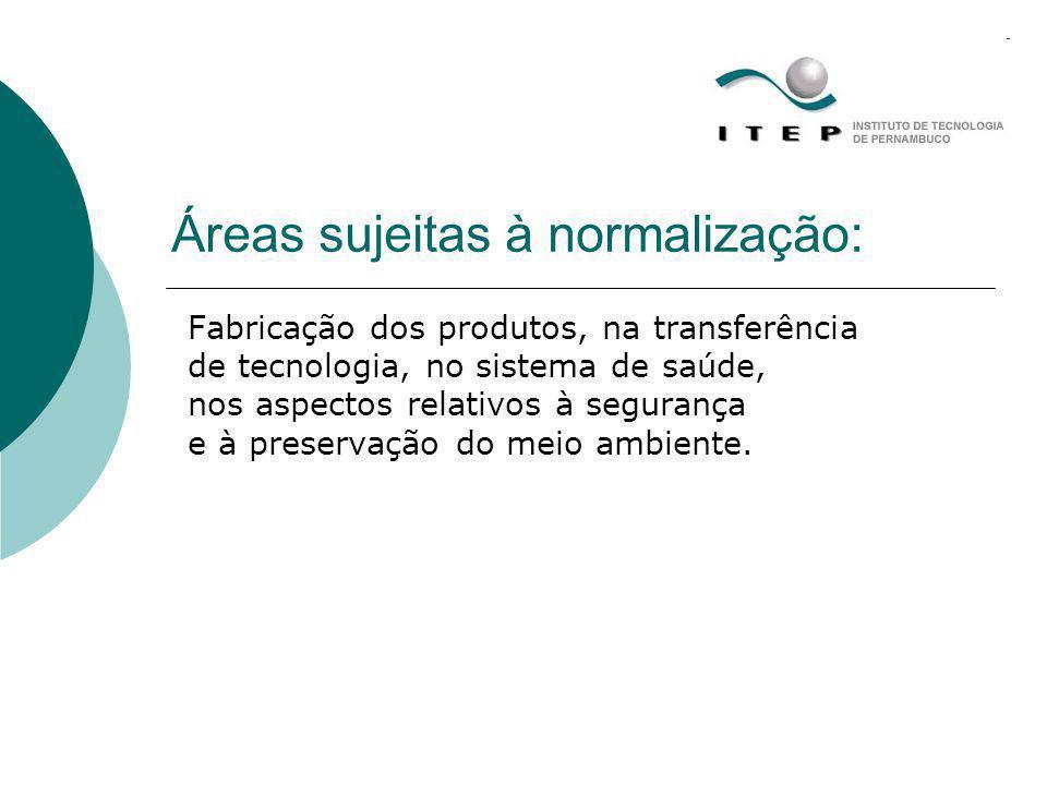 Áreas sujeitas à normalização: