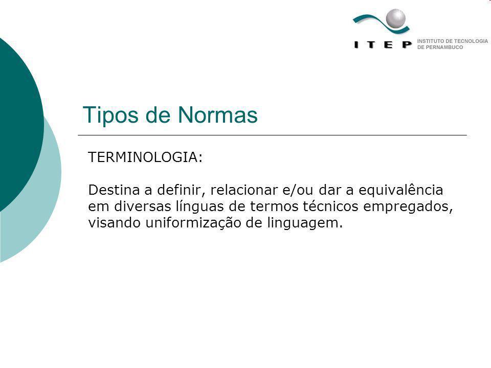 Tipos de Normas TERMINOLOGIA: