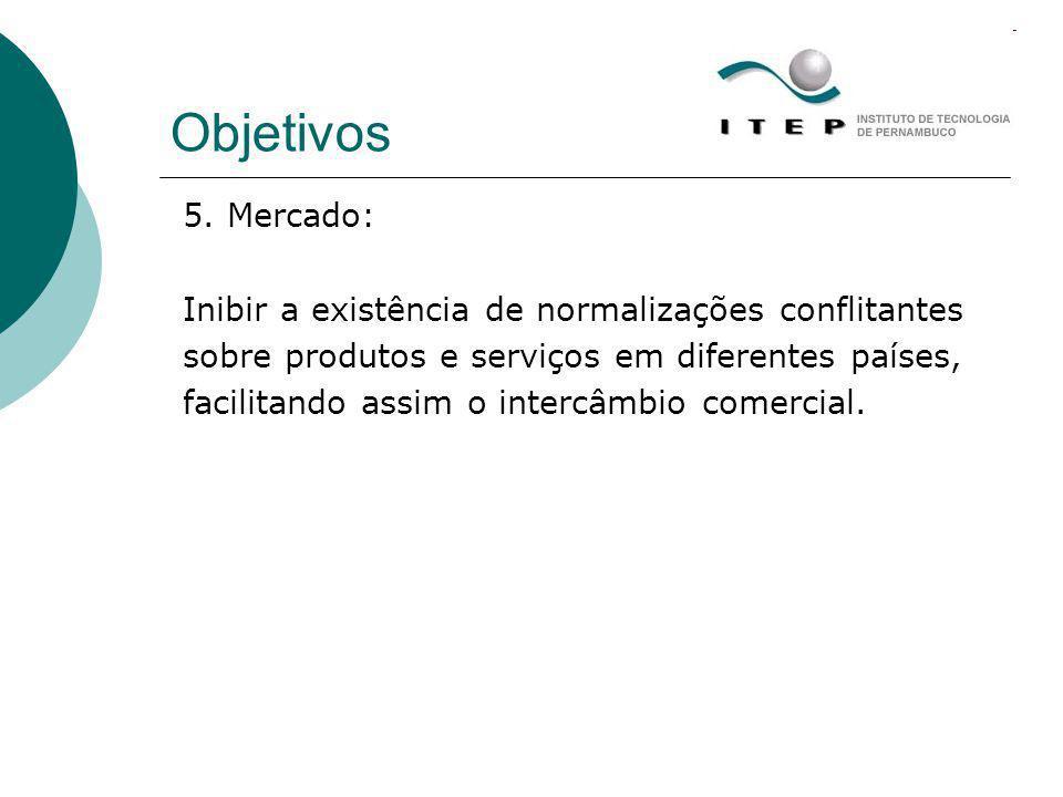 Objetivos 5. Mercado: Inibir a existência de normalizações conflitantes. sobre produtos e serviços em diferentes países,