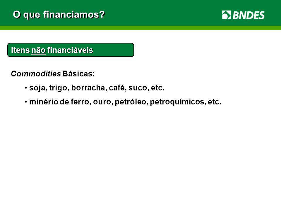O que financiamos Itens não financiáveis Commodities Básicas: