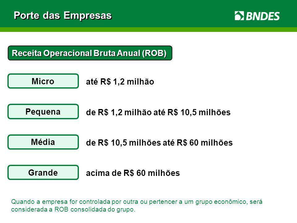 Porte das Empresas Receita Operacional Bruta Anual (ROB) Micro