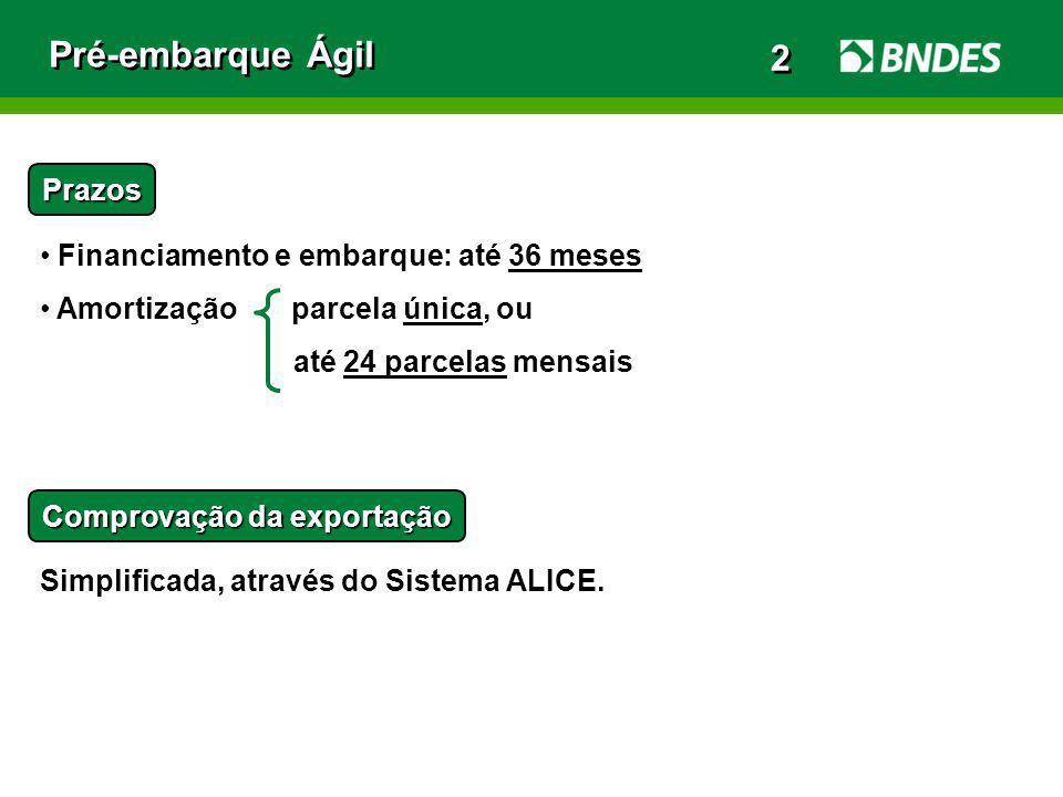 Pré-embarque Ágil 2 Prazos Financiamento e embarque: até 36 meses