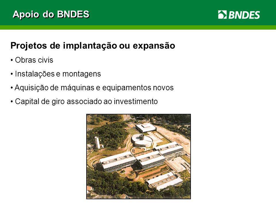 Apoio do BNDES Projetos de implantação ou expansão Obras civis