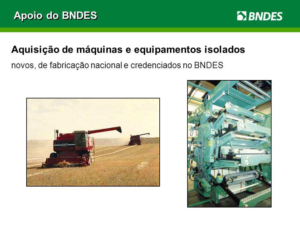 Apoio do BNDES Aquisição de máquinas e equipamentos isolados