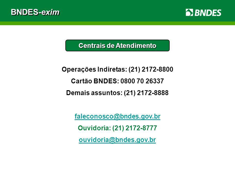 Centrais de Atendimento Operações Indiretas: (21) 2172-8800