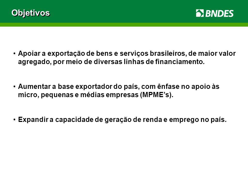 Objetivos Apoiar a exportação de bens e serviços brasileiros, de maior valor agregado, por meio de diversas linhas de financiamento.