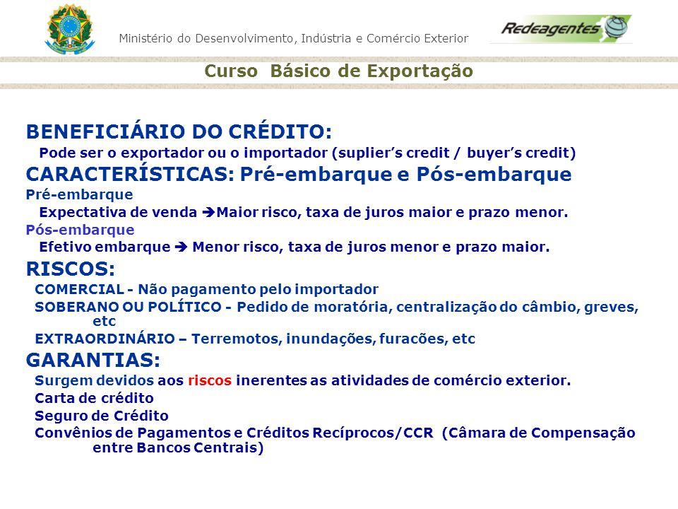 BENEFICIÁRIO DO CRÉDITO: CARACTERÍSTICAS: Pré-embarque e Pós-embarque
