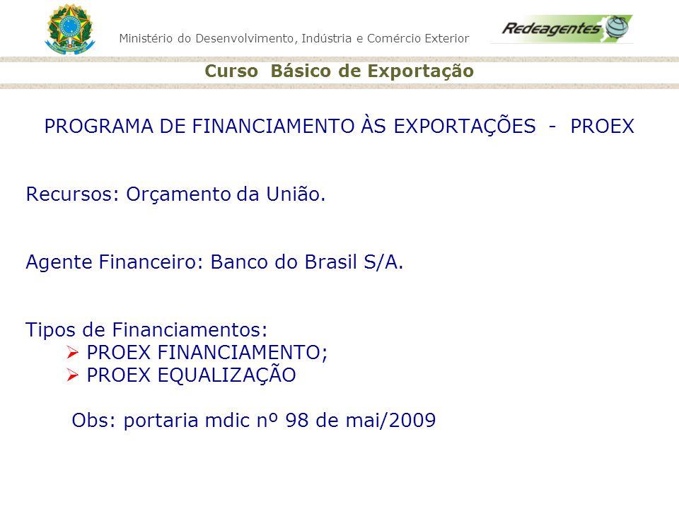PROGRAMA DE FINANCIAMENTO ÀS EXPORTAÇÕES - PROEX