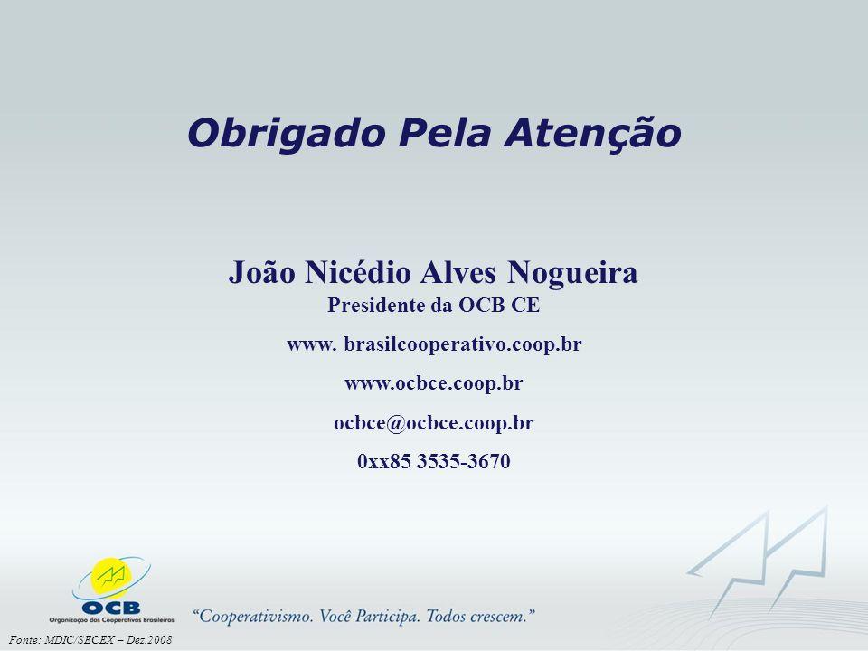 Obrigado Pela Atenção João Nicédio Alves Nogueira Presidente da OCB CE